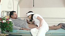 15824 Teen nurses fuck old grandpa in a fake hospital bed and give sloppy blowjob preview