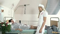 Teen nurses fuck old grandpa in a fake hospital bed and give sloppy blowjob - 9Club.Top