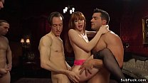 Hot redhead gangbanged at bachelor party