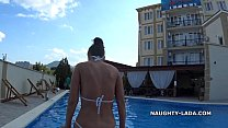 Hotel flashing. Transparent bikini Vorschaubild