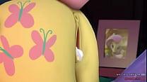 3D Futa Ponies Fluttershy x Luna - naughtybrony.com