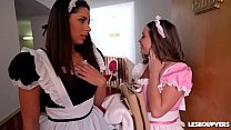Lesbo Lovers Zafira & Rachele Richey Fucked by Maid Cathy Heaven thumbnail