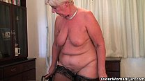 British and full figured granny Sandie masturba...