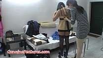 Backstage with stunning brunette in stockings