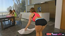 Stepmom yoga makes teen girl all horny and they... Thumbnail