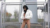 Busty Ashley Robbins outdoor dildo masturbation