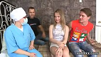 Dude assists with hymen physical and screwing of virgin cutie