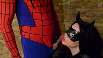 Catwoman takes spiderman´s web on her big tits Preview