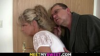 Guy finds his girl fucked by old mom and dad preview image