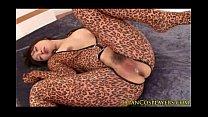 Flexible asian cosplay babe in leopard bodysuit...