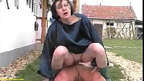extreme ugly grandma fucks grandson outdoor