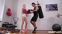 Gym fuck with horny blondie Arteya makes him cum all over her sexy feet - 9Club.Top