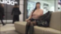 Short skirt and sheer blouse for flashing and public upskirt Vorschaubild
