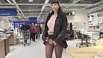 Short skirt and sheer blouse for flashing and p...