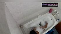 Hidden camera in the bath while teen masturbing the ass , her cousin enter and fuck so hard