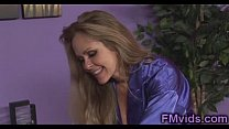 Busty blonde milf plays with cock