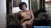 Stockinged realtor fucking viewer in house