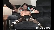 Lustful petite girl gets enslaved by a large bold dude