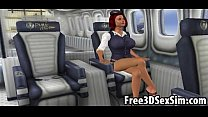 Foxy 3D cartoon flight attendant getting fucked