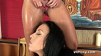 Brunette babes enjoy some seriously fun lesbian piss drinking Image