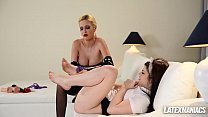 Dominant Latex Maniac Blanche Humiliates Submissive Maid Lucia Love: samantha rone nude thumbnail