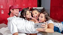 SCAM ANGELS – Three slutty brunettes Gina Valentina, Karlee Grey and Cindy Starfall fuck couch in the locker room