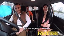 Fake Driving School exam failure ends in threesome double creampie thumbnail