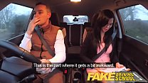Fake Driving School exam failure ends in threesome double creampie preview image