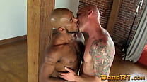 Inked homo cheeks spread with interracial bareback