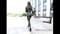 Walking boots Black leather leggings high-heeled shoes long legs's Thumb