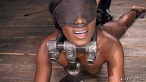 Hairy ebony rides machine in bondage porn image