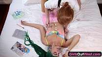 Girls Out West - Crazy hairy lesbian finger fucking n squirting thumbnail