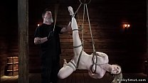 Gagged blonde tormented on hogtie thumbnail