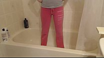 Teen Girl Peeing Pink Sweats For Fun Thumbnail