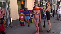 Body painted nakes slut in public