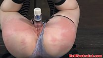 Jackknifed subs pussy lips stimulated video