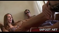 Sexy sweetheart shows off feet in pantyhose and gives sexy footjob porn thumbnail