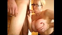 Big tit milf sucks the cock