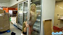 Teen tit flash and lesbian sex in supermarket
