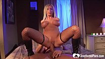 Kinky Blonde In Fishnets Gets Her Cunt Rammed