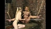 Blonde babe tortured by violent mistress with horny nipples getting spanked