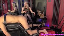 Rough femdom punishes sub with dildo machine preview image