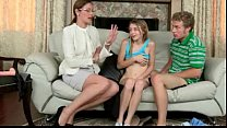 Strict stepmom hardcore strapon 3some with her stepdaughter's Thumb