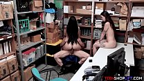 Latina stepsisters get caught stealing and late...