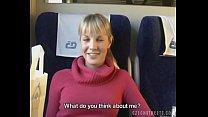 Czech streets Blonde girl in train Image