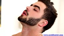 Handsome hairy gay enjoys oral session