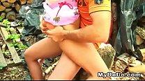 Tricked teen girl loses her virginity outdoor w...