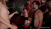 Busty redhead slave licks mistress