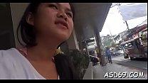 Mischievous asian teen reveals her curly twat r...