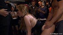 Busty slave gangbanged in public
